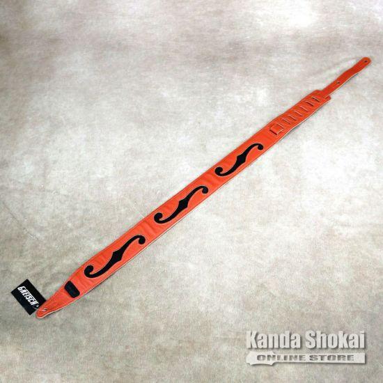 Gretsch Orange/Black Leather F Hole Strapの商品画像1